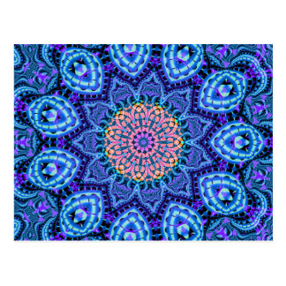 Ornate Blue Flower Vibrations Kaleidoscope Art Postcard