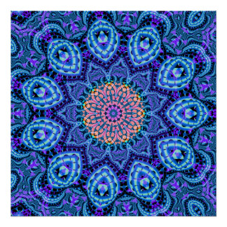 Ornate Blue Flower Vibrations Kaleidoscope Art Poster