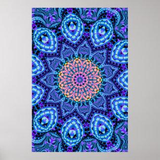 Ornate Blue Flower Vibrations Kaleidoscope Art Poster