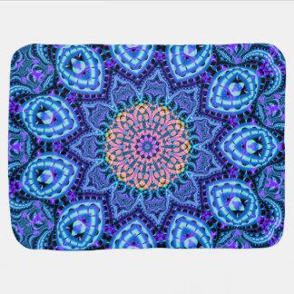 Ornate Blue Flower Vibrations Kaleidoscope Art Receiving Blanket