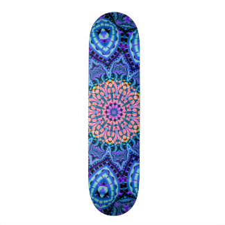 Ornate Blue Flower Vibrations Kaleidoscope Art Skateboard