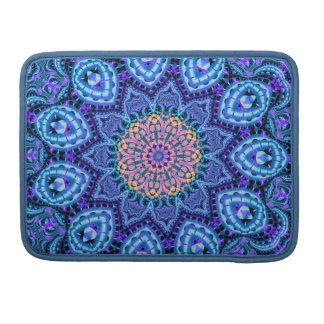 Ornate Blue Flower Vibrations Kaleidoscope Art Sleeve For MacBooks