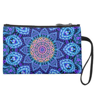 Ornate Blue Flower Vibrations Kaleidoscope Art Suede Wristlet Wallet