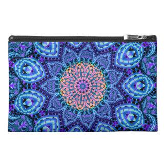 Ornate Blue Flower Vibrations Kaleidoscope Art Travel Accessory Bag
