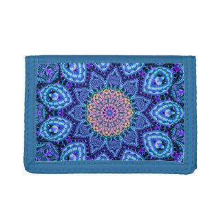 Ornate Blue Flower Vibrations Kaleidoscope Art Tri-fold Wallet