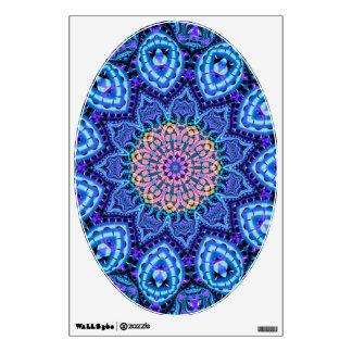 Ornate Blue Flower Vibrations Kaleidoscope Art Wall Sticker