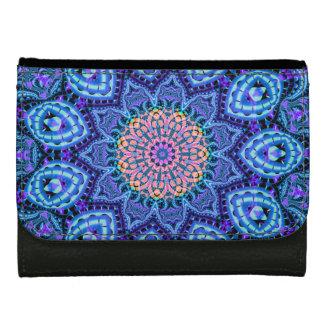 Ornate Blue Flower Vibrations Kaleidoscope Art Wallet