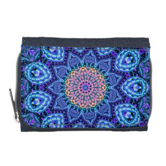 Ornate Blue Flower Vibrations Kaleidoscope Art Wallets
