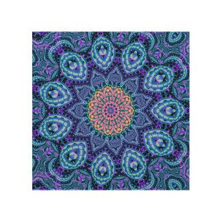 Ornate Blue Flower Vibrations Kaleidoscope Art Wood Print