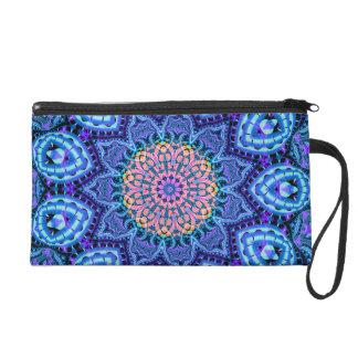 Ornate Blue Flower Vibrations Kaleidoscope Art Wristlet Purse