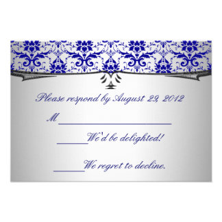 Ornate Blue Silver Damask RSVP Cards Invitation