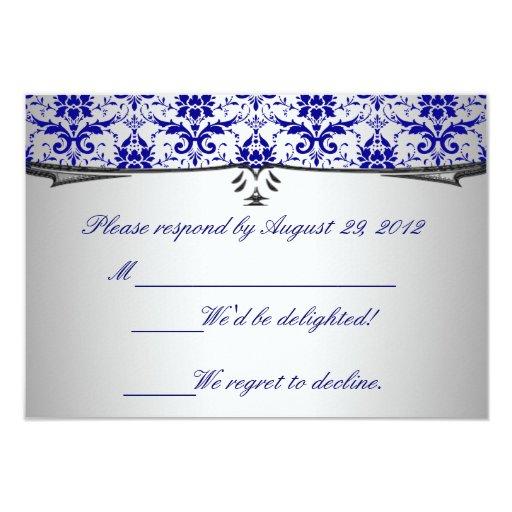 Ornate Blue Silver Damask RSVP Cards Invitation