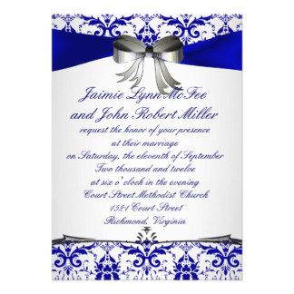 Ornate Blue Silver Damask Wedding Invitation