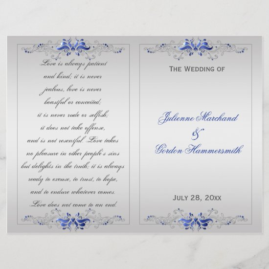 Ornate Blue Silver Floral Swirls Wedding Program