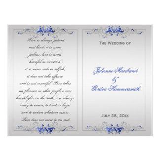 Ornate Blue Silver Floral Swirls Wedding Program