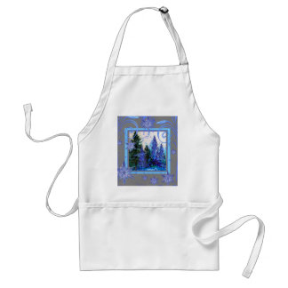ORNATE BLUE WINTER SNOWFLAKES FOREST ART ADULT APRON