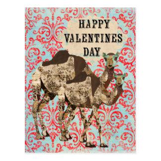 Ornate Boho Camels Valentines Day Postcard