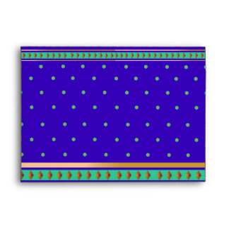 Ornate Bollywood India Blue Green Gold Wedding Envelope
