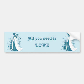 Ornate Bride Silhouette, flowers and gothic castle Bumper Sticker