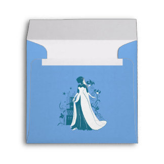 Ornate Bride Silhouette, flowers and gothic castle Envelope