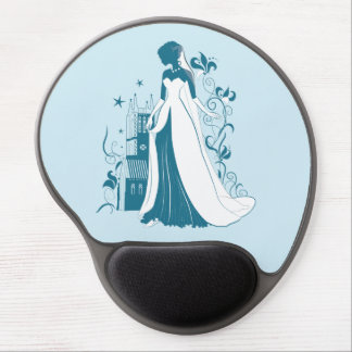 Ornate Bride Silhouette, flowers and gothic castle Gel Mouse Pad