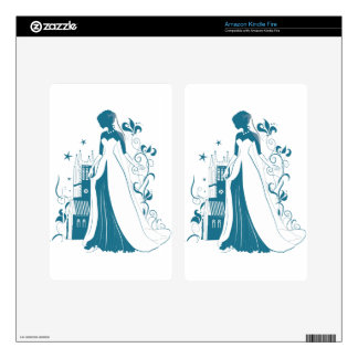 Ornate Bride Silhouette, flowers and gothic castle Kindle Fire Decal
