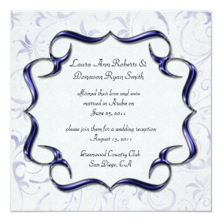 Ornate Bright Purple And Silver Post Wedding Card