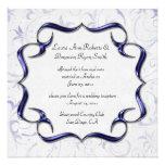 Ornate Bright Purple And Silver Post Wedding Personalized Invites