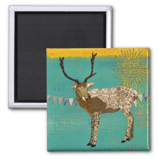 Ornate Bronze Buck Sunshine Teal Magnet