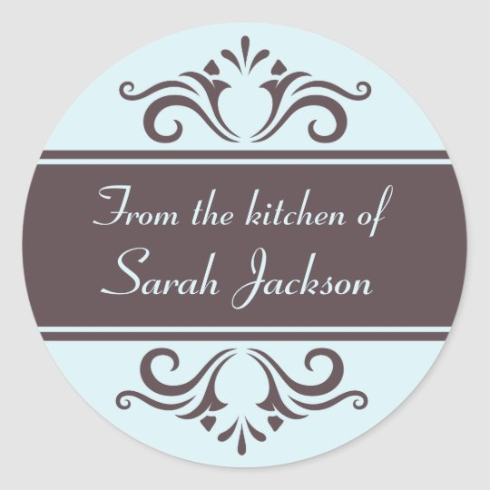 Ornate brown and pale blue kitchen labels