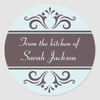 Ornate brown and pale blue kitchen labels classic round sticker