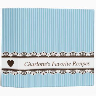 Ornate brown border blue stripes kitchen recipe 3 ring binder
