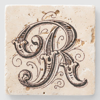 Ornate Brown Monogram 'R' Stone Coaster