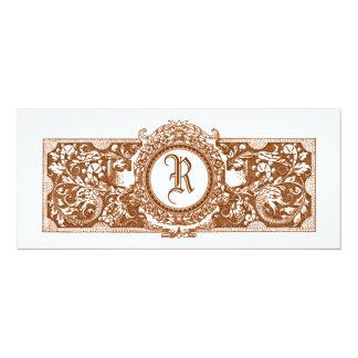 "Ornate Brown ""R"" Monogram Wedding Invitations"