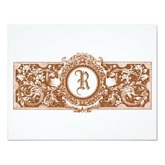 "Ornate Brown ""R"" Monogram Wedding Reply Cards"