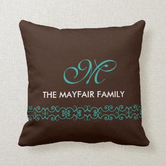 Ornate Brown Teal White Family Monogram Design Throw Pillow