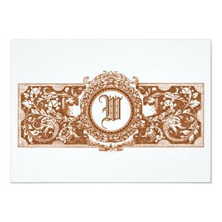 "Ornate Brown ""W"" Monogram Wedding Invitations"