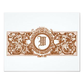 "Ornate Brown ""W"" Monogram Wedding Reply Cards Custom Invite"