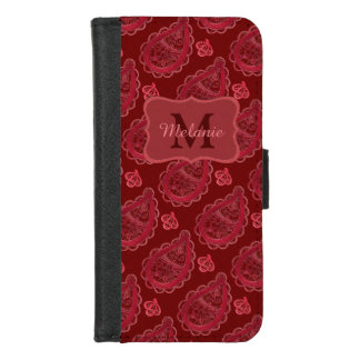 Ornate Burgundy Paisley Pattern Personalised iPhone 8/7 Wallet Case