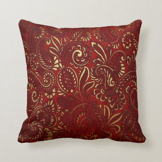 Ornate Burgundy Red Gold Flowers Bohemian Paisley Throw Pillow