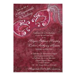 Ornate Burgundy Silver Masquerade Ball Wedding 5x7 Paper Invitation Card
