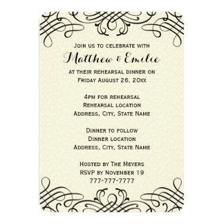 "Ornate Calligraphy Rehearsal Dinner Invitation 4.5"" X 6.25"" Invitation Card"