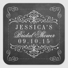 Ornate Chalkboard Bridal Shower Stickers at Zazzle
