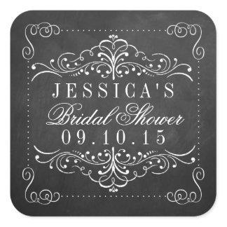 Ornate Chalkboard Bridal Shower Stickers
