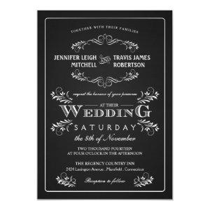 Ornate Chalkboard Vintage Wedding Invitations 5