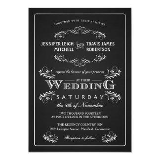 """Ornate Chalkboard Vintage Wedding Invitations 5"""" X 7"""" Invitation Card"""