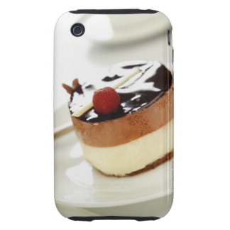 Ornate cheesecake on plate with coffee cup in tough iPhone 3 case