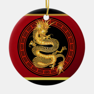 Ornate Chinese Year of the Dragon Ceramic Ornament