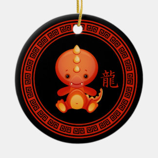 Ornate Chinese Year of the Dragon Double-Sided Ceramic Round Christmas Ornament