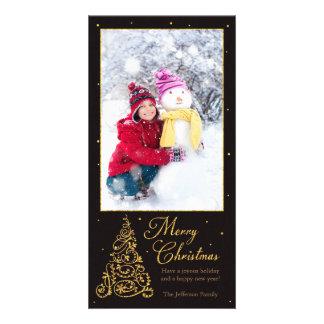 Ornate Christmas Tree Black Glitter Card